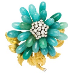 David Webb 18 Karat Gold Nephrite Jade Chrysoprase and Diamond Brooch