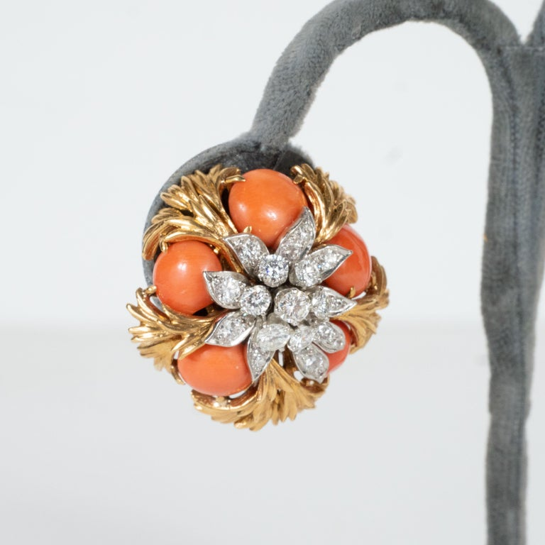 David Webb 18 Karat Gold, Platinum, Coral and Diamond Earclips For Sale 1
