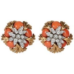 David Webb 18 Karat Gold, Platinum, Coral and Diamond Earclips