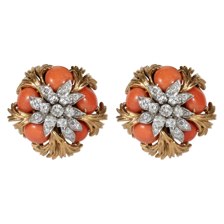 David Webb 18 Karat Gold, Platinum, Coral and Diamond Earclips For Sale