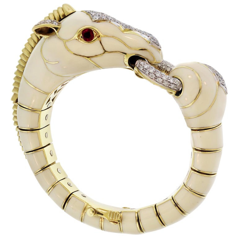 David Webb 18 Karat Gold Platinum White Enamel Diamond Ruby Horse Zebra Bracelet