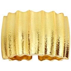 David Webb 18 Karat Gold Ridged Cuff Bracelet