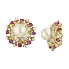 David Webb 18 Karat Gold South Sea Cultured Pearl Diamond and Ruby Earrings