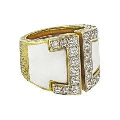 David Webb 18 Karat Gold White Enamel Diamond Gap Large Model Ring