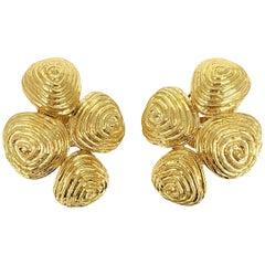 David Webb 18 Karat Gold 'Zen' Earrings