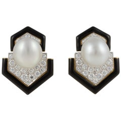 David Webb 18 Karat Platinum Pearl Diamond Earrings