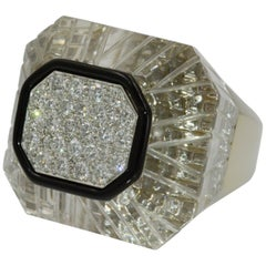 David Webb 18 Karat White Gold and Platinum Diamond Rock Crystal Ring