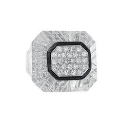 David Webb 18 Karat White Gold and Platinum Diamond Rock Crystal Ring