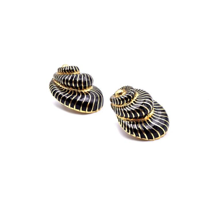 Designer: David Webb Material: 18K yellow gold Weight: 36.72 grams Measurements: earrings measure 30X 23.5mm