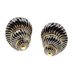 David Webb 18 Karat Yellow Gold and Black Enamel Seashell Earrings