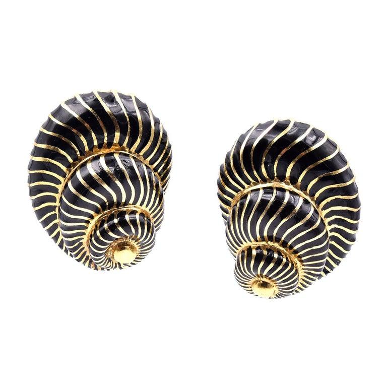 David Webb 18 Karat Yellow Gold and Black Enamel Seashell Earrings For Sale