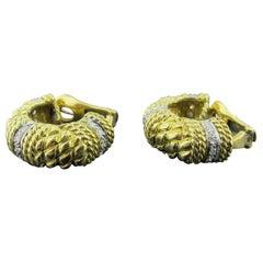 David Webb 18 Karat Yellow Gold and Diamond Earrings