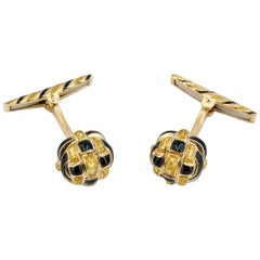 David Webb 18 Karat Yellow Gold and Enamel Knot Cufflinks