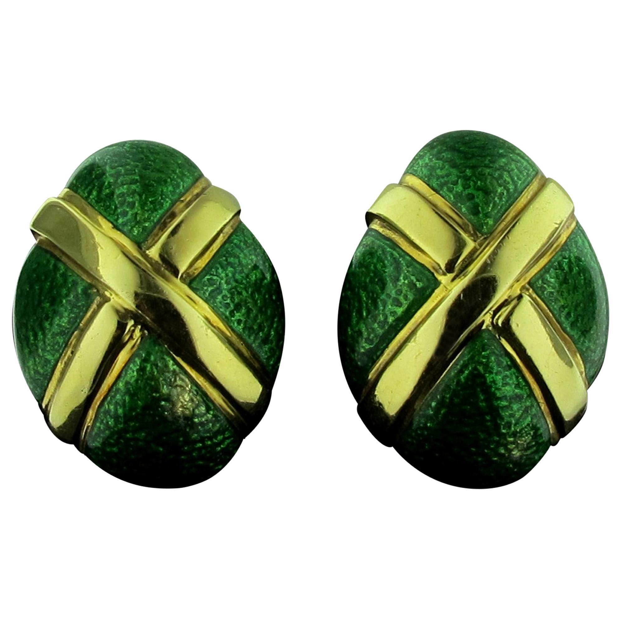 David Webb 18 Karat Yellow Gold and Green Enamel Earrings