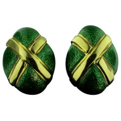 David Webb 18 Karat Yellow Gold and Green Enamel Earrings