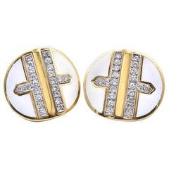 David Webb 18 Karat Yellow Gold and Platinum Diamond Earrings