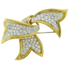 David Webb 18 Karat Yellow Gold and Platinum Diamond Ribbon Small Brooch