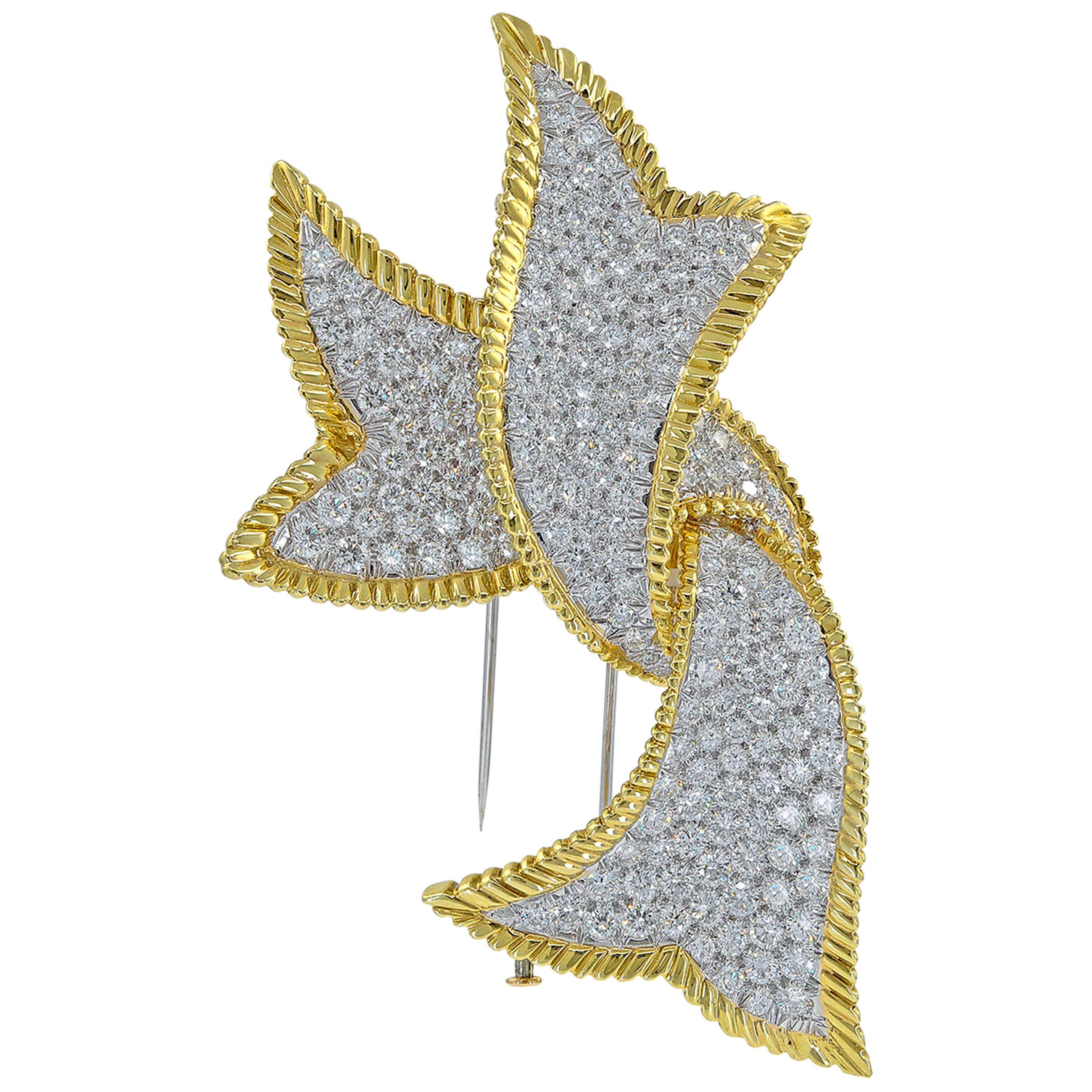 David Webb 18 Karat Yellow Gold and Platinum Diamond Ribbon Large Brooch
