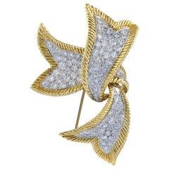 David Webb 18 Karat Yellow Gold and Platinum Diamond Ribbon Small Brooch
