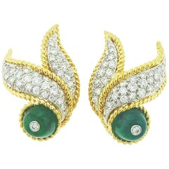 David Webb 18 Karat Yellow Gold and Platinum Emerald and Diamond Earrings