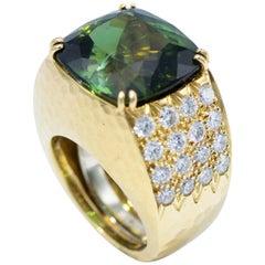 David Webb 18 Karat Yellow Gold and Platinum Green Tourmaline with Diamond Ring