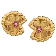 David Webb 18 Karat Yellow Gold and Platinum Ruby and Diamond Fan Earrings