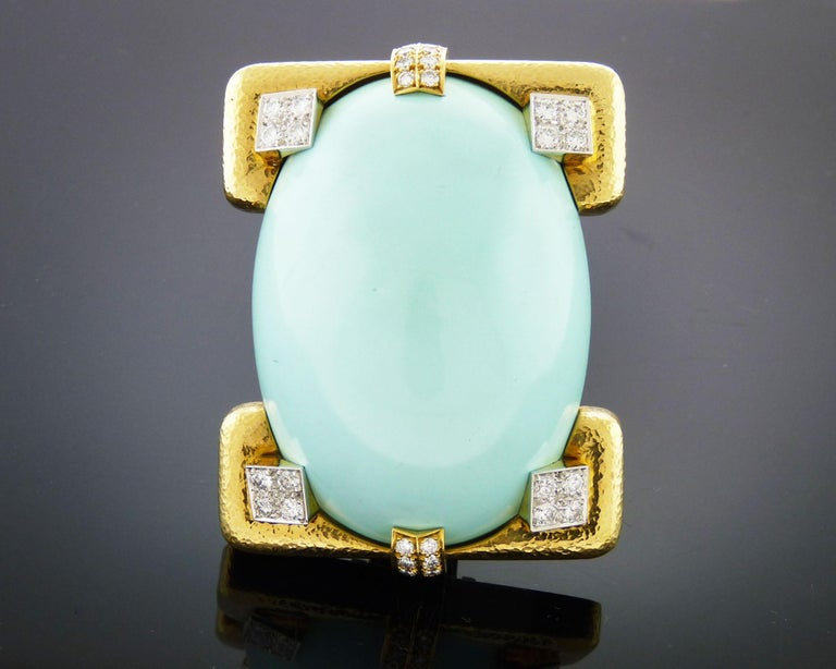 Contemporary David Webb 18 Karat Yellow Gold and Platinum Turquoise and Diamond Pin / Pendent For Sale