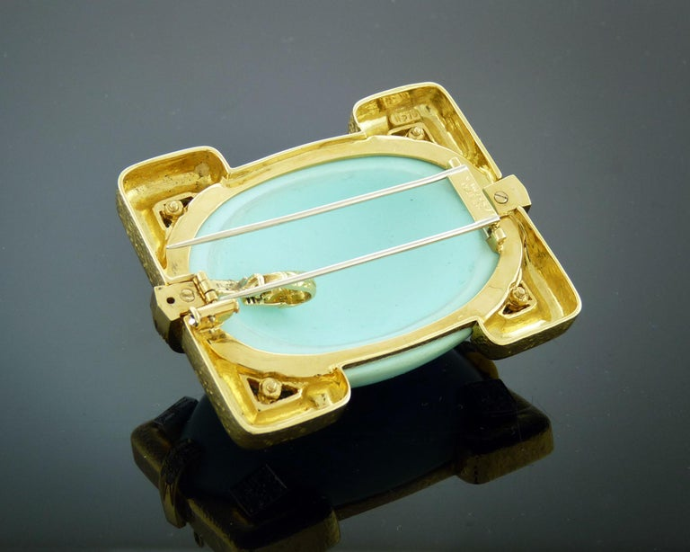 Women's or Men's David Webb 18 Karat Yellow Gold and Platinum Turquoise and Diamond Pin / Pendent For Sale