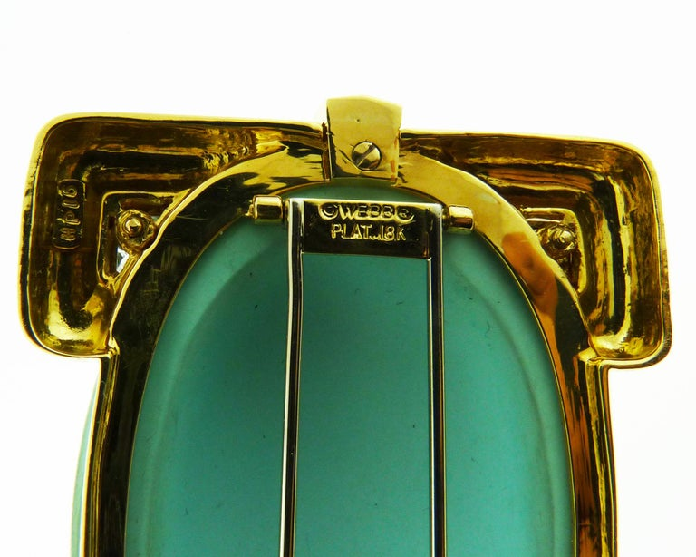 David Webb 18 Karat Yellow Gold and Platinum Turquoise and Diamond Pin / Pendent For Sale 3
