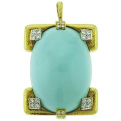David Webb 18 Karat Yellow Gold and Platinum Turquoise and Diamond Pin / Pendent