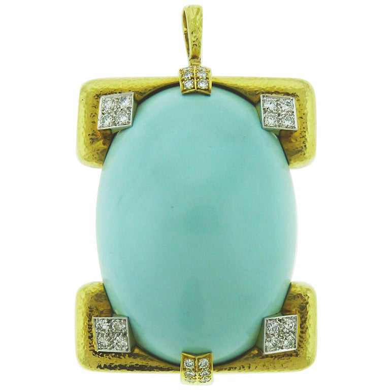 David Webb 18 Karat Yellow Gold and Platinum Turquoise and Diamond Pin / Pendent For Sale