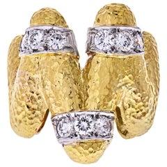 David Webb 18 Karat Yellow Gold and Platinum Zigzag Diamond Ring