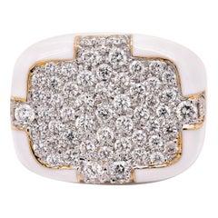 David Webb 18 Karat Yellow Gold and White Enamel Diamond Pave Ring