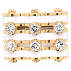 David Webb 18 Karat Yellow Gold and White Enamel Diamond Wave Ring