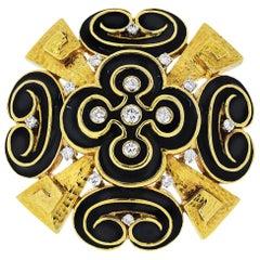 David Webb 18 Karat Yellow Gold Black Enamel, Heraldic Scroll Diamond Brooch
