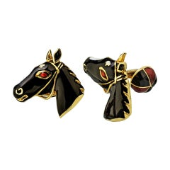 David Webb 18 Karat Yellow Gold Black Enamel Horse Head Cuff Links