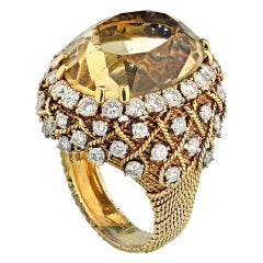 David Webb 18 Karat Yellow Gold Bombe Citrine Large Diamond Ring