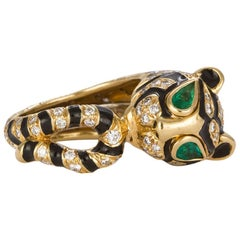 David Webb 18 Karat Yellow Gold Diamond and Emerald Tiger Ring