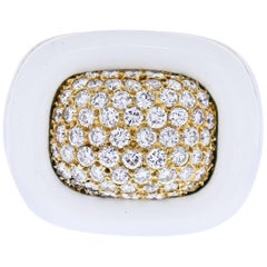 David Webb 18 Karat Yellow Gold Diamond and White Enamel Ring
