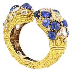 David Webb 18 Karat Yellow Gold Diamond, Colored Sapphire Bracelet