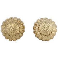 David Webb 18 Karat Yellow Gold Earrings