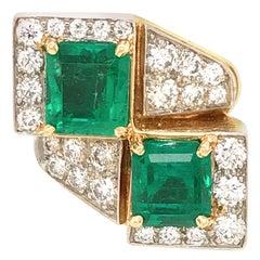 David Webb 18 Karat Yellow Gold Emerald and Diamond Ring