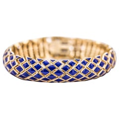 David Webb 18 Karat Yellow Gold Enamel Bracelet