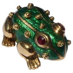 David Webb 18 Karat Yellow Gold Enamel Frog Brooch
