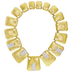 David Webb 18 Karat Yellow Gold Hammered Finish Palette Diamond Bib Necklace