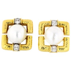 David Webb 18 Karat Yellow Gold Hammered Finish, Pearl and Diamond Clip Earrings