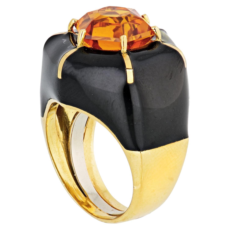 David Webb 18 Karat Yellow Gold Hexagon Citrine Black Enamel Ring