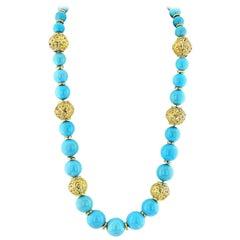 David Webb 18 Karat Yellow Gold Large Turquoise Bead Necklace