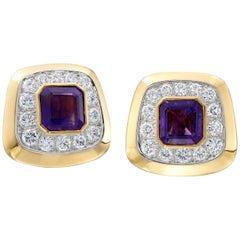 David Webb 18 Karat Yellow Gold/Platinum Amethyst and Diamond Earrings