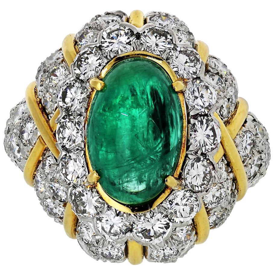 David Webb 18 Karat Yellow Gold, Platinum, Cabochon Emerald, Diamond Bombe Ring